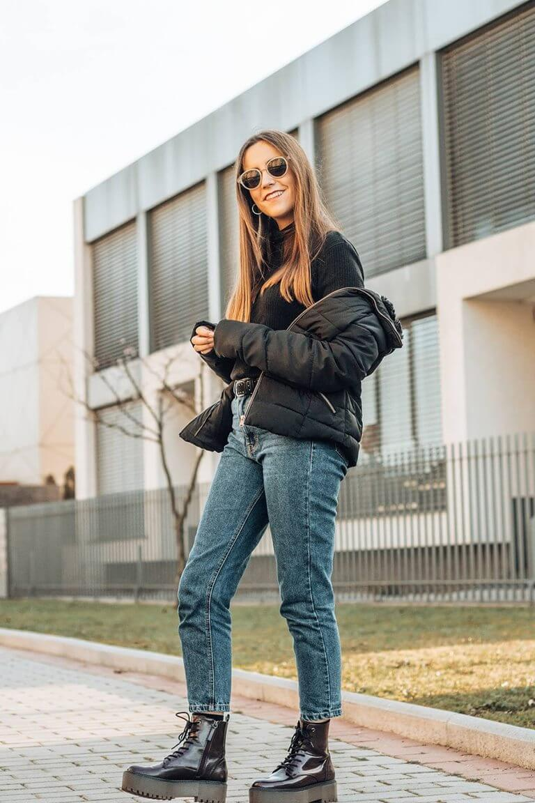 basic outfit with mom jeans chunky boots turtleneck sweater