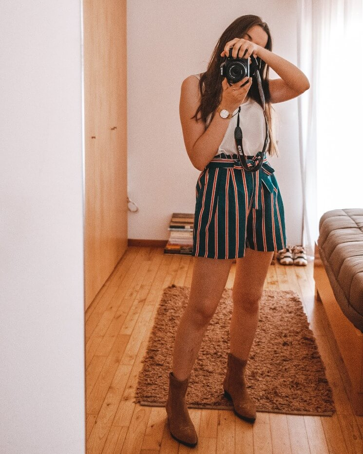 outfit striped shorts boots for summer